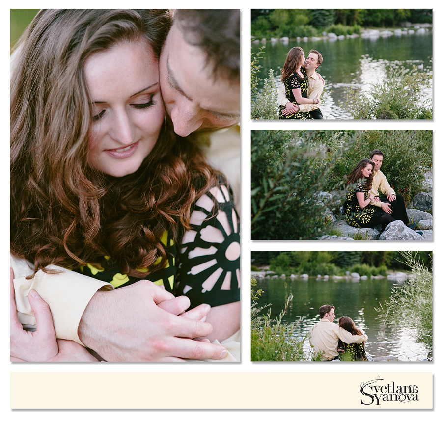calgary downtown engagement photos, engagement photos by the water, romantic stylish photos, off camera flash engagement, silhouette engagement photos